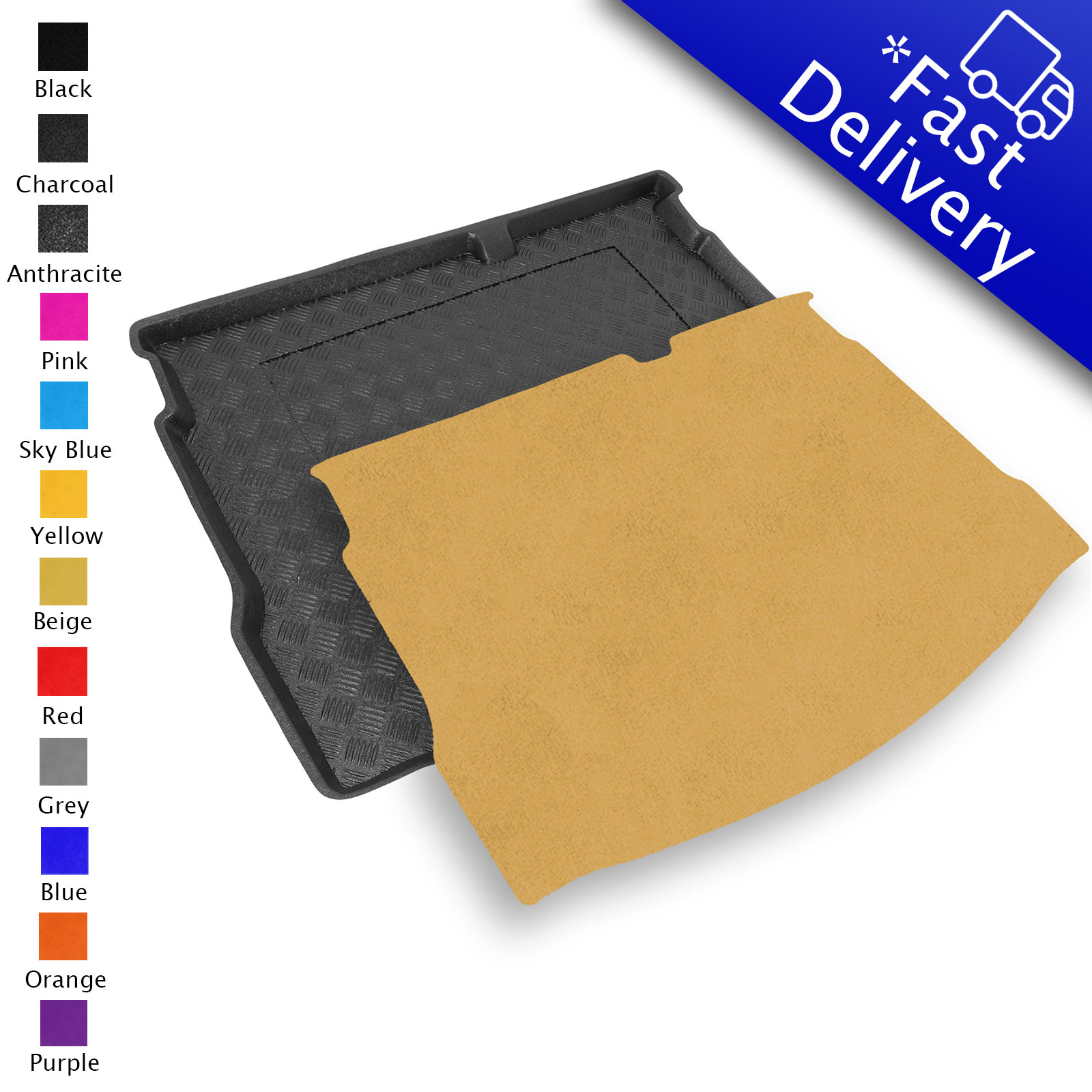 Fully Tailored PVC Boot Liner//Mat//Tray carmats4u To fit Captur 2013 Black Carpet Insert