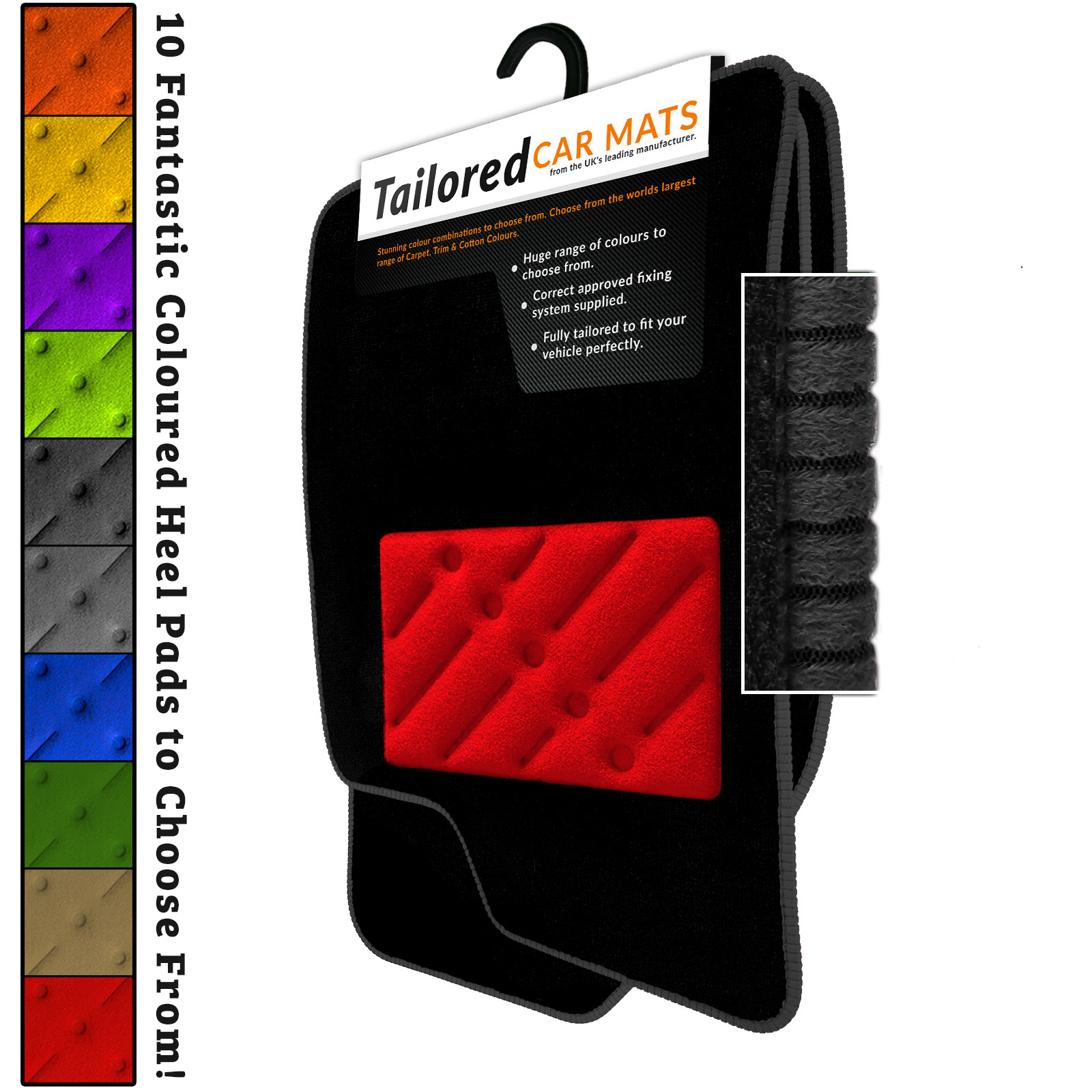CLIPS Fiat Panda 2012-on Fully Tailored Deluxe Car Mats in Black