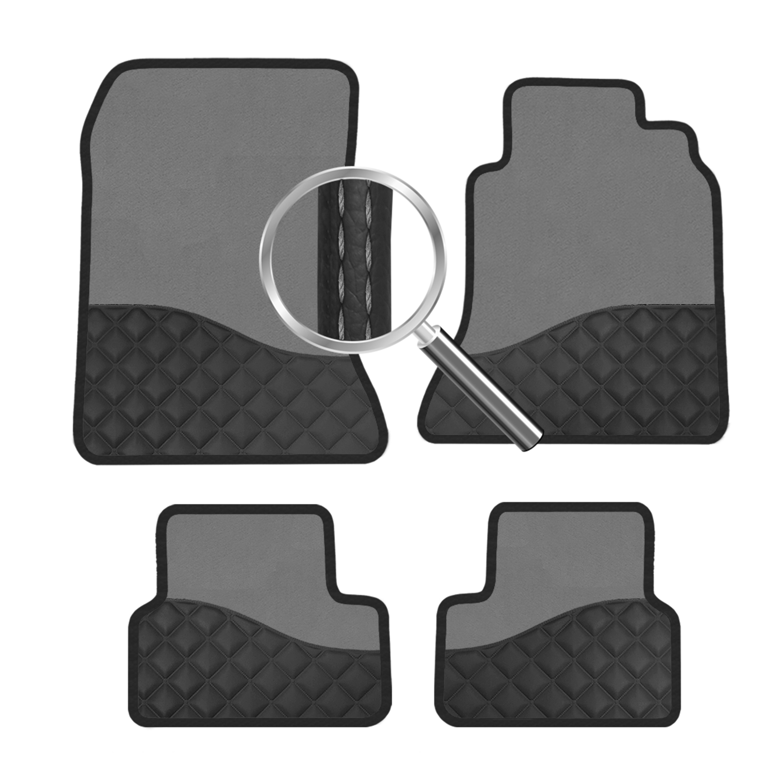 floor black lexus with stitching diamond red compressed products mats